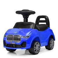 Каталка-толокар M 4122L-4 муз, свет, кож.сид, багажник, д64-ш29-в40см, синий