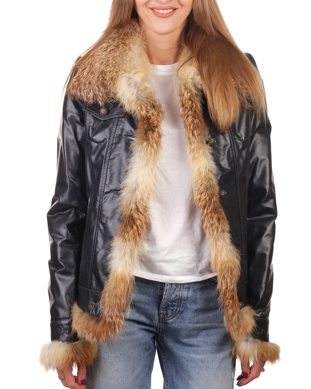 Куртка шкіряна VK синя з хутром лисиці (Арт. NV282)