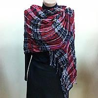 Коричневый шарф палантин в клетку легкая жатка