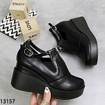 Туфли на танкетке черные, фото 3