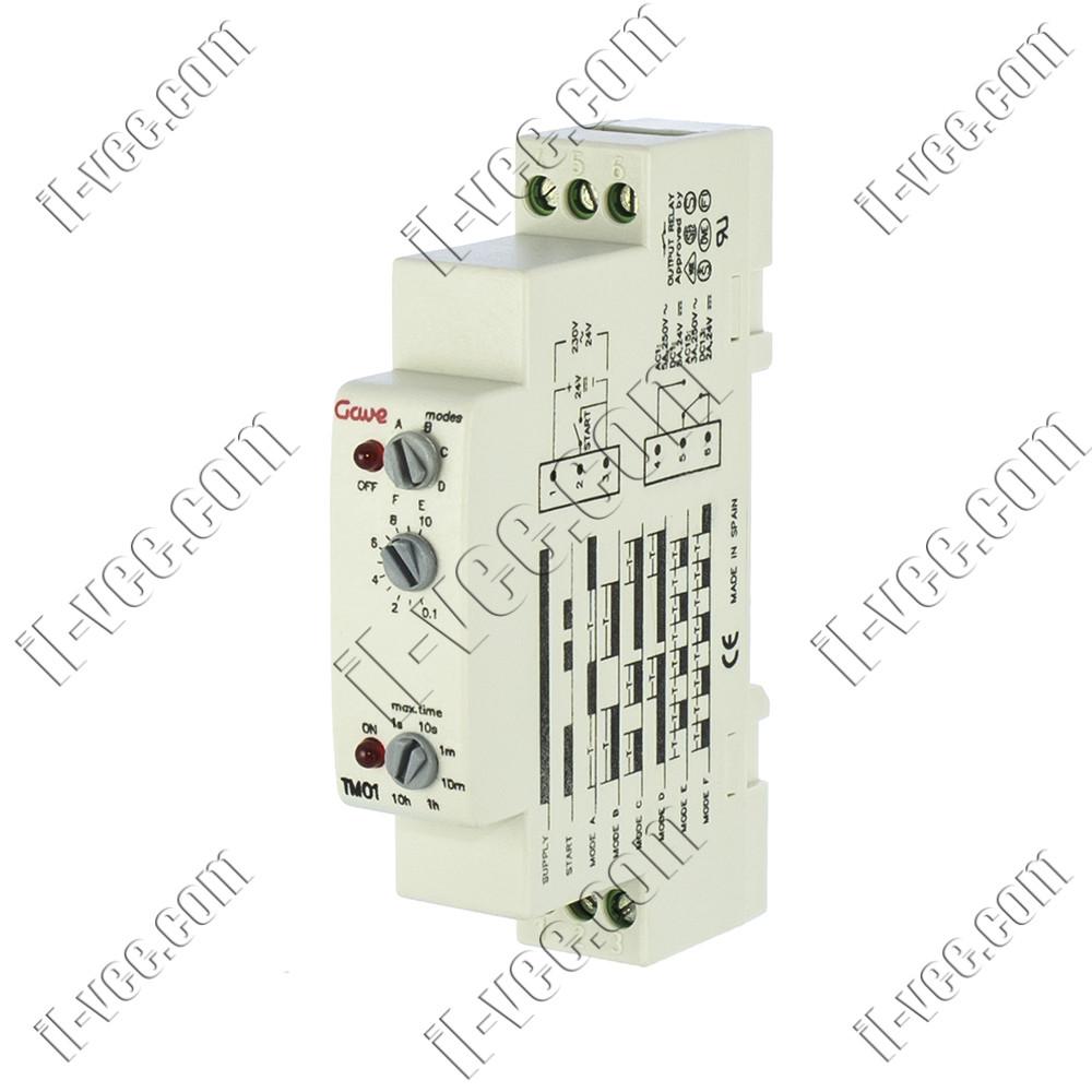 Реле времени многофункциональное Gawe TM01, 24VDC 24..230VAC, SPDT 5A/250VAC