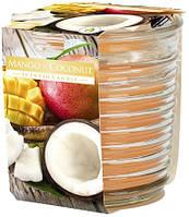 Аромасвеча в фактурном стекле Bispol манго-кокос 8 см (snw80-1-316)