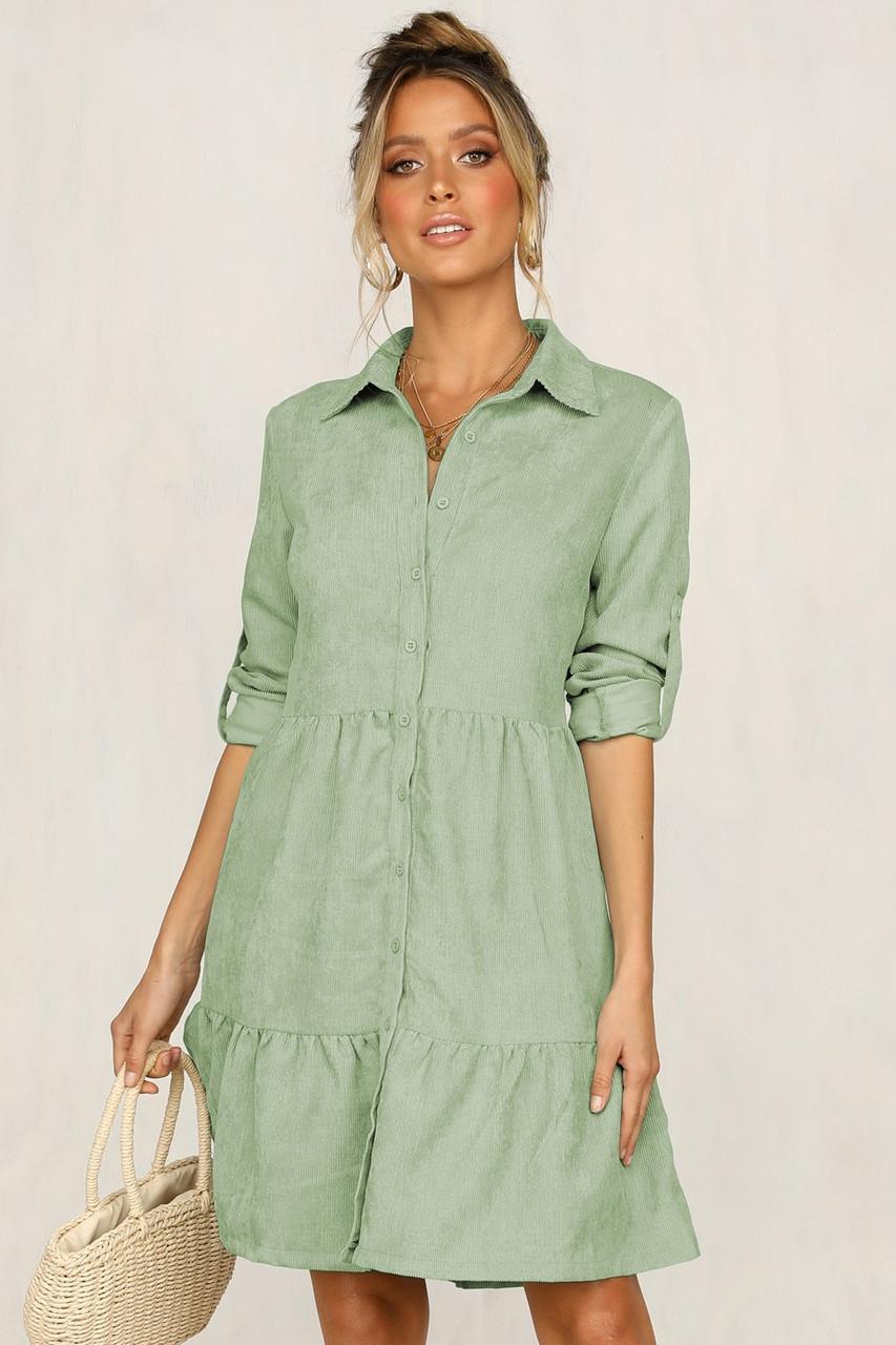 Сукня сорочка жіноча вельветове вільний на гудзиках з довгим рукавом, розмір L (оливкова)