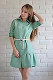 Сукня сорочка жіноча вельветове вільний на гудзиках з довгим рукавом, розмір L (оливкова), фото 5