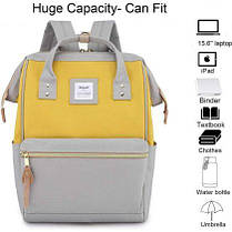 Сумка рюкзак Himawari 9001 GREY/YELLOW с карманом для ноутбука и USB, фото 3