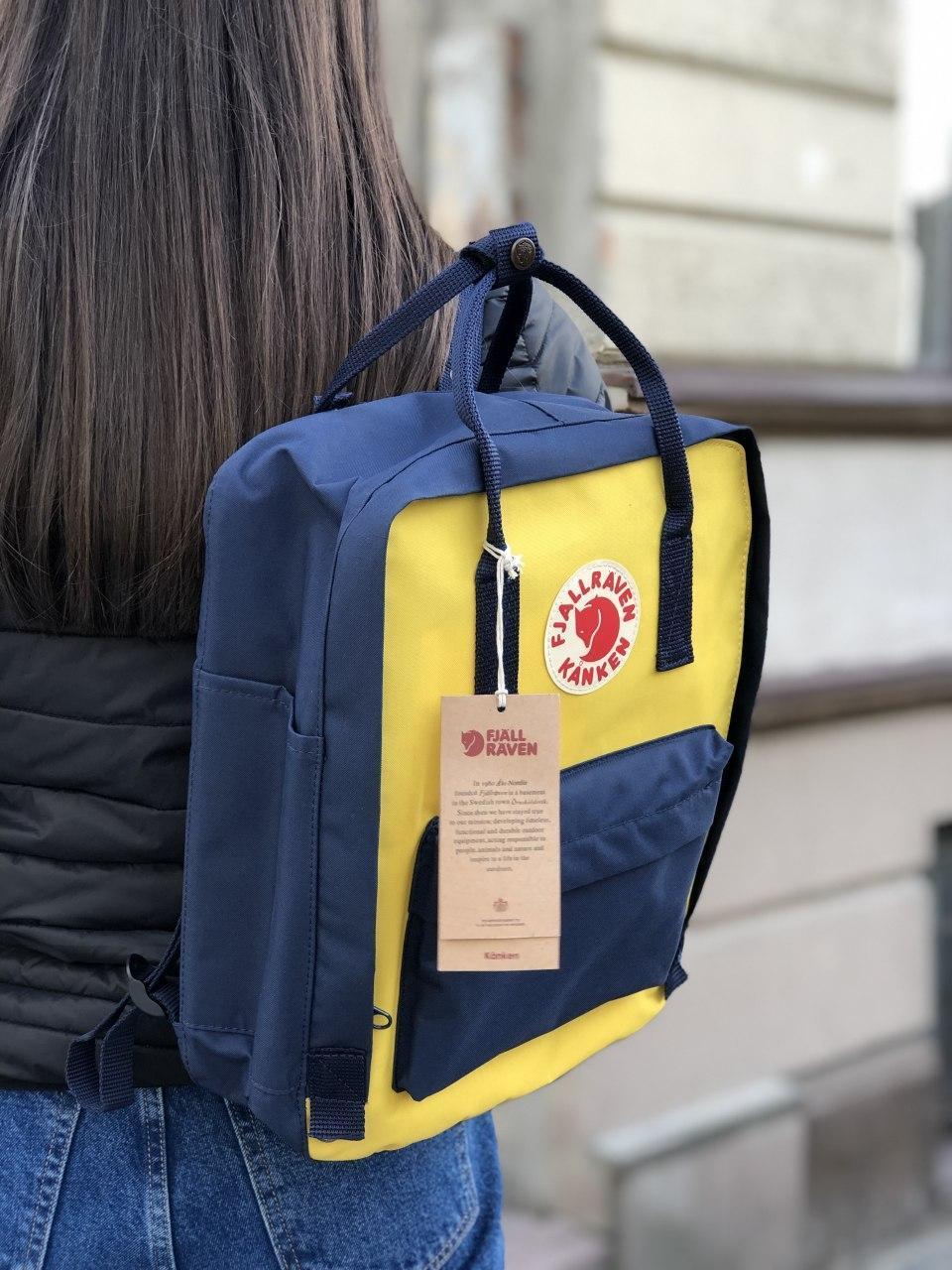Рюкзак Fjallraven Kanken Navy-Warm Yellow, 16л, Материал: Vinylon F 100%