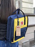 Рюкзак Fjallraven Kanken Navy-Warm Yellow, 16л, Материал: Vinylon F 100%, фото 1