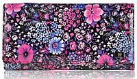 Женский кожаный кошелек 2030-F30 букет фиолетовый