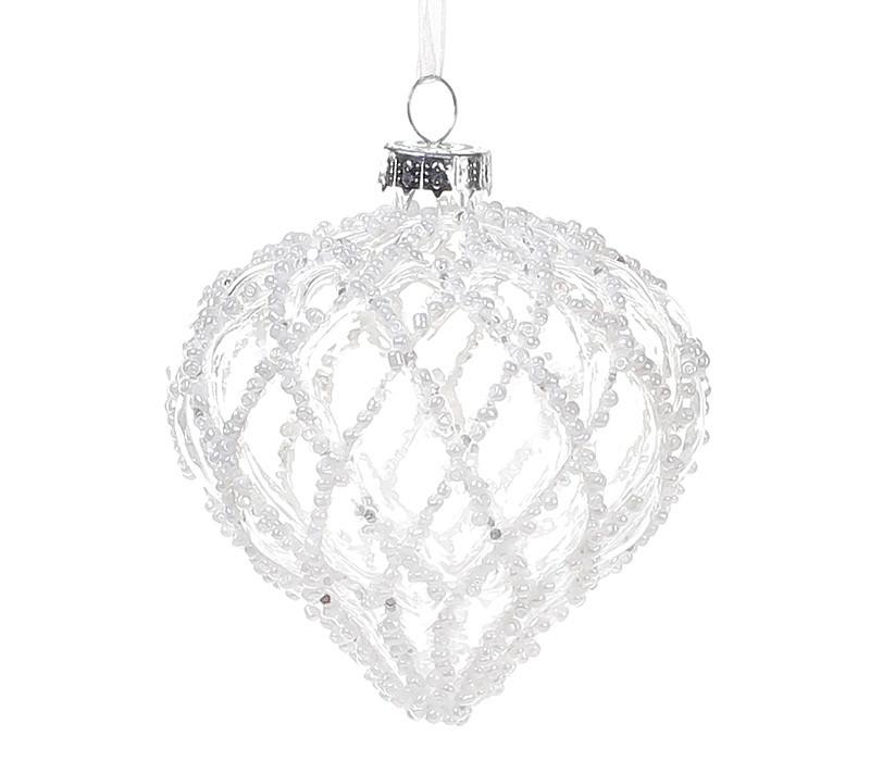 Елочное украшение 8см, прозрачное стекло с декором из белого бисера