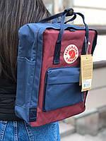 Рюкзак Fjallraven Kanken Dark blue-Ox.Red, 16л, Червоний, Матеріал: Vinylon F 100%, фото 1