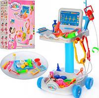 Детский игровой набор доктора с тележкой, медицинские инструменты, 30,5х30х51 см,606-1-5