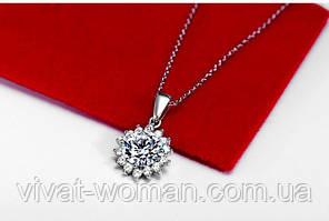 Кулон с фианитом (куб. цирконием), ожерелье классическое