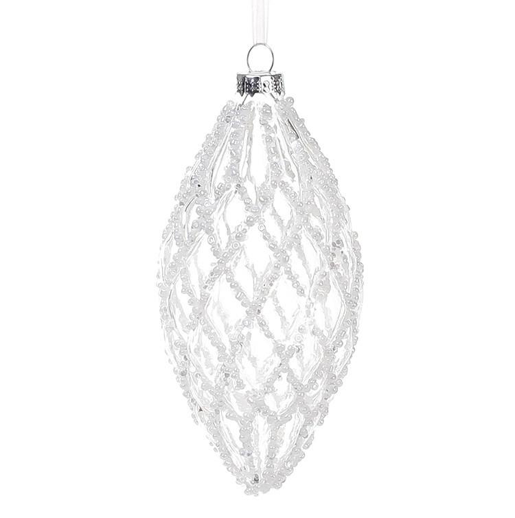 Елочное украшение 6*13см, прозрачное стекло с декором из белого бисера