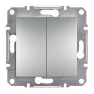 Выключатель двухклавишный проходной Schneider Electric Asfora алюминий (EPH0600161)