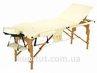 Массажный стол профессиональный Body Fit, кушетка деревянная, 3-х сегментный стол для массажа (Бежевый), фото 1