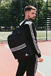 Мужской рюкзак Adidas городской спортивный молодежный черный. Живое фото. В 2х цветах, фото 4