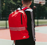 Мужской рюкзак Adidas городской спортивный молодежный красный. Живое фото. В 2х цветах