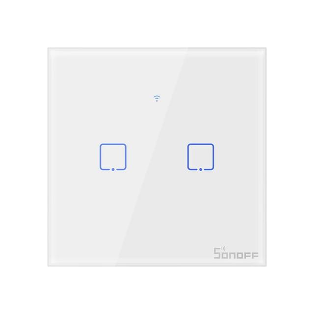 Sonoff T1 умный сенсорный настенный wifi выключатель на 2 кнопки с дистанционным управлением RF
