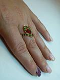 Кольцо натуральный камень Хромдиопсид и Рубин. Размер 17. Серебро 925, позолота 14 карат, фото 2