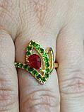 Кольцо натуральный камень Хромдиопсид и Рубин. Размер 17. Серебро 925, позолота 14 карат, фото 5