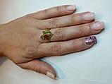 Кольцо натуральный камень Хромдиопсид и Рубин. Размер 17. Серебро 925, позолота 14 карат, фото 3