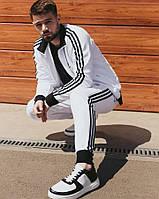 Модный спортивный костюм мужской Adidas белый весна осень. Живое фото. Чоловічий спортивний костюм, фото 1