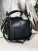 Женская сумка черная средняя классическая небольшая повседневная квадратная экокожа, фото 1