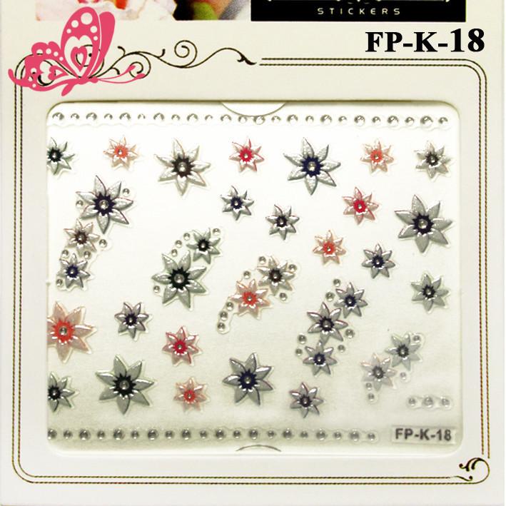 Самоклеющиеся Наклейки для Ногтей 3D FP-К-18 Жемчужные Серебристые Розовые Цветы со Стразами Декор Ногтей
