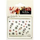 Самоклеющиеся Наклейки для Ногтей 3D FP-К-18 Жемчужные Серебристые Розовые Цветы со Стразами Декор Ногтей, фото 3