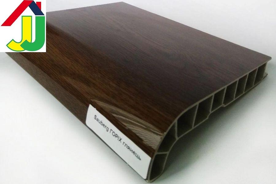 Подоконник Sauberg (Ламинация) Орех Глянец 150 мм влагостойкий, термостойкий, для окон