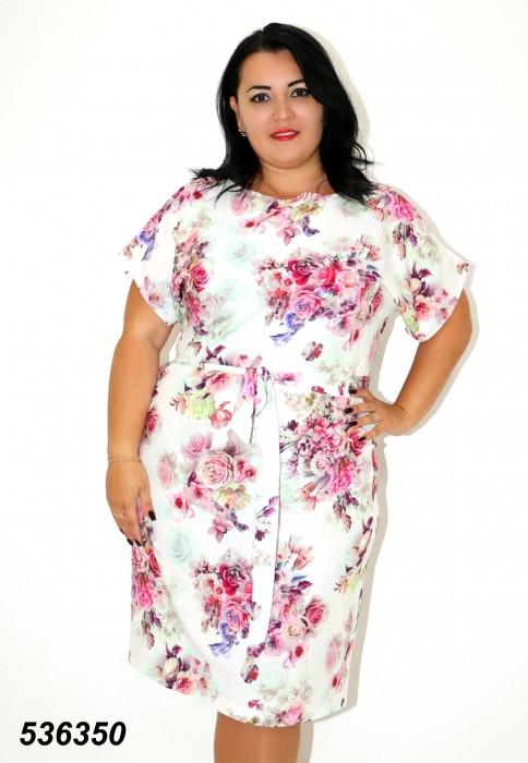 Строкате літнє плаття з поясом 48,50 52 54 56р
