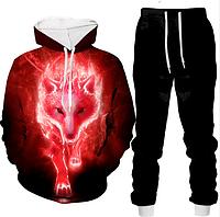 3D Костюм с принтом красного Волка