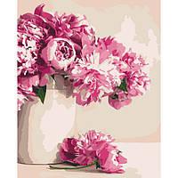 """Картина по номерам. Цветы """"Бархатные пионы"""" 40*50см KHO2931"""