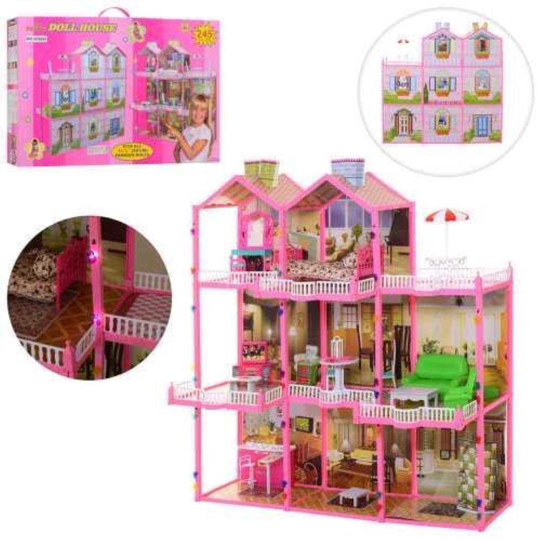 Трёхэтажный кукольный домик 6992 с террасой и мебелью