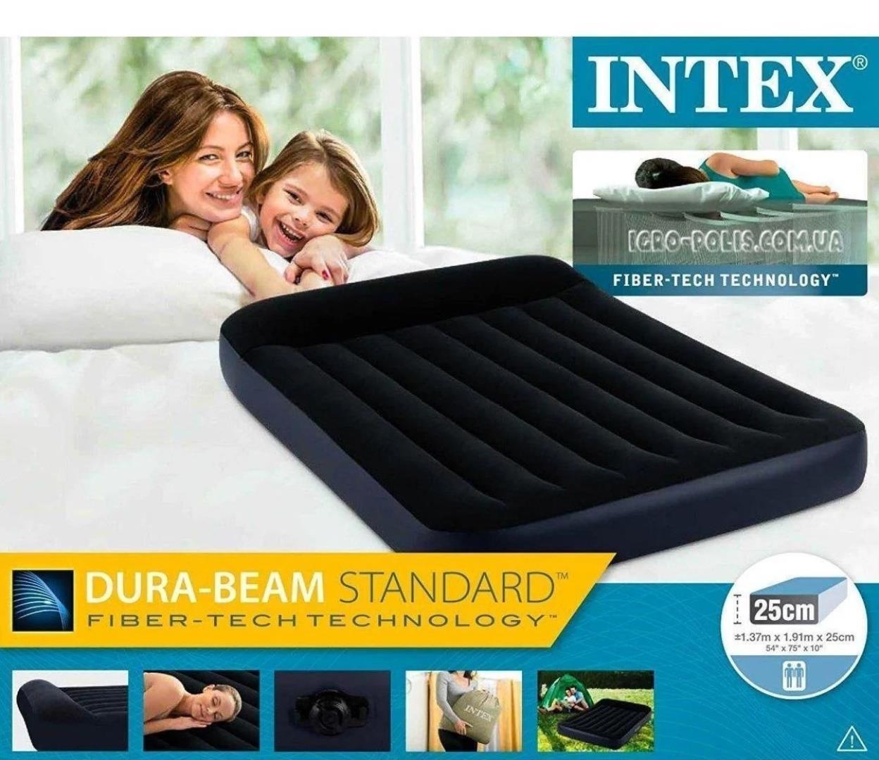 Надувной матрас Intex Dura Beam Standart 64143 с подголовником (152x203x25 см )