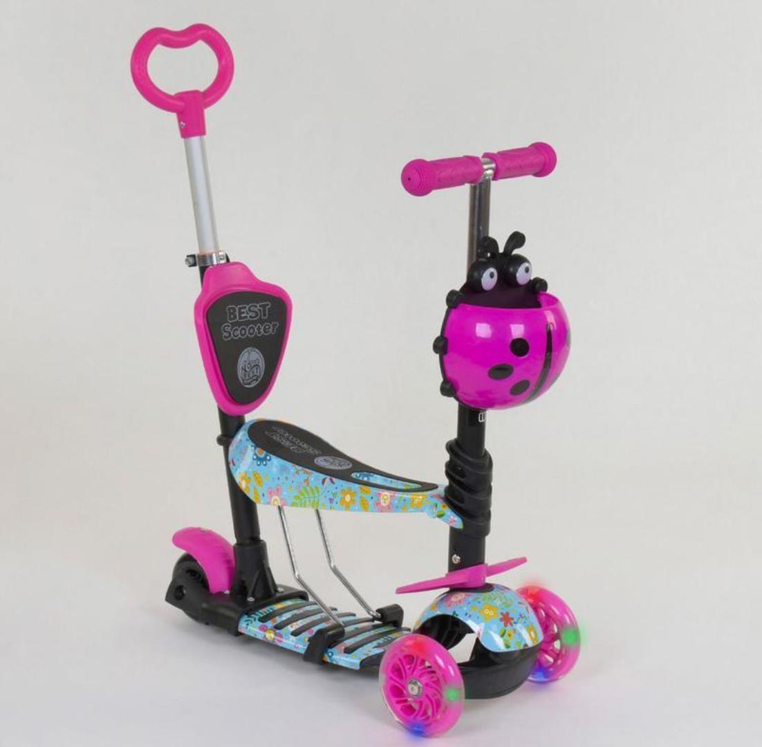 Детский самокат 5в1 Best Scooter 26901 c рисунком и светящимися колёсами