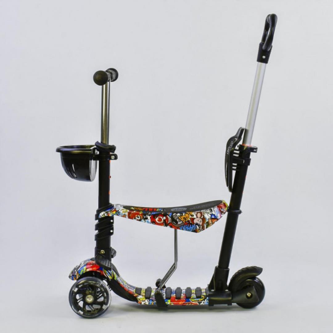 Детский самокат 5в1 Best Scooter 34760 c рисунком и светящимися колёсами