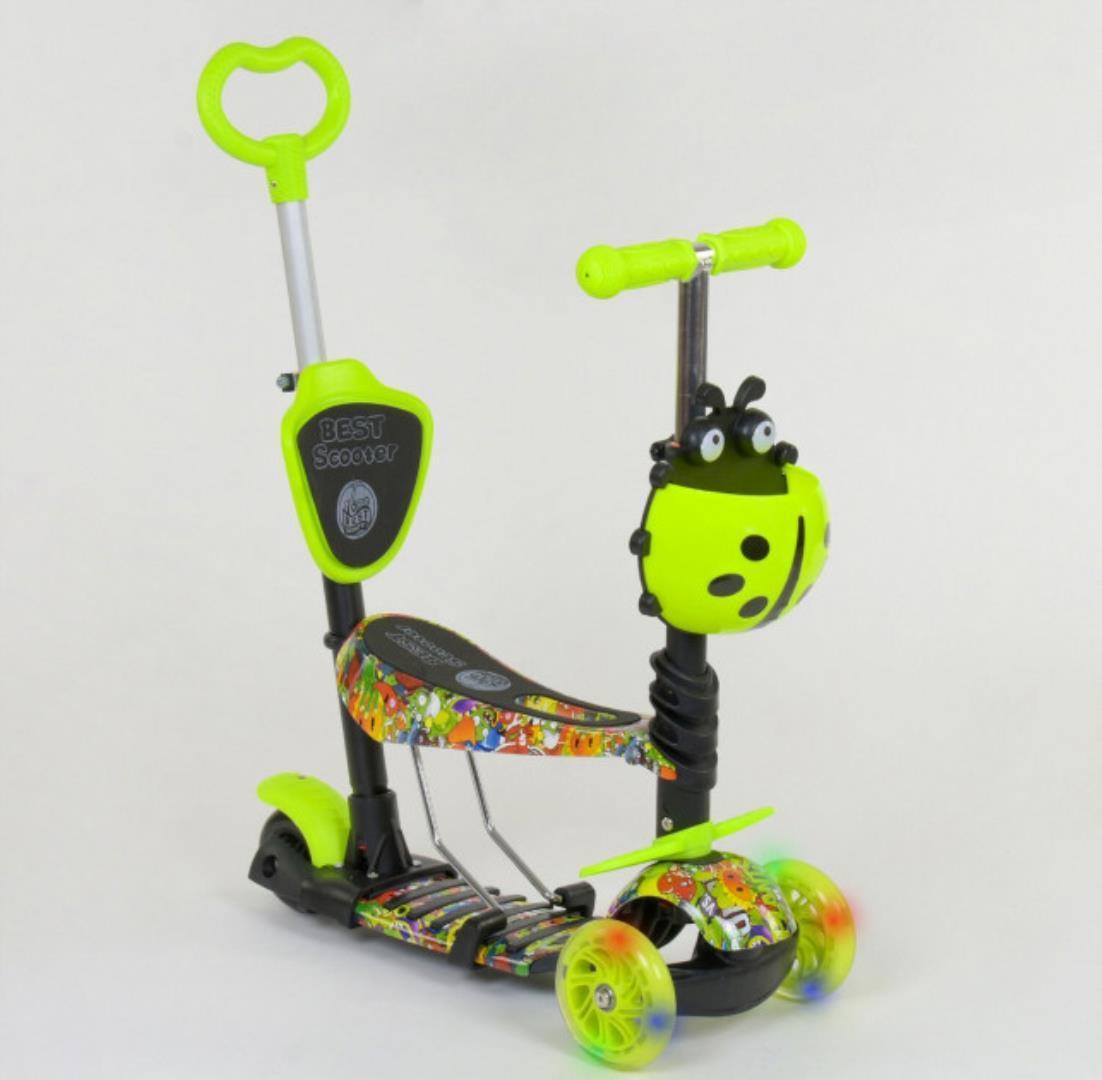 Детский самокат 5в1 Best Scooter 55945 c рисунком и светящимися колёсами