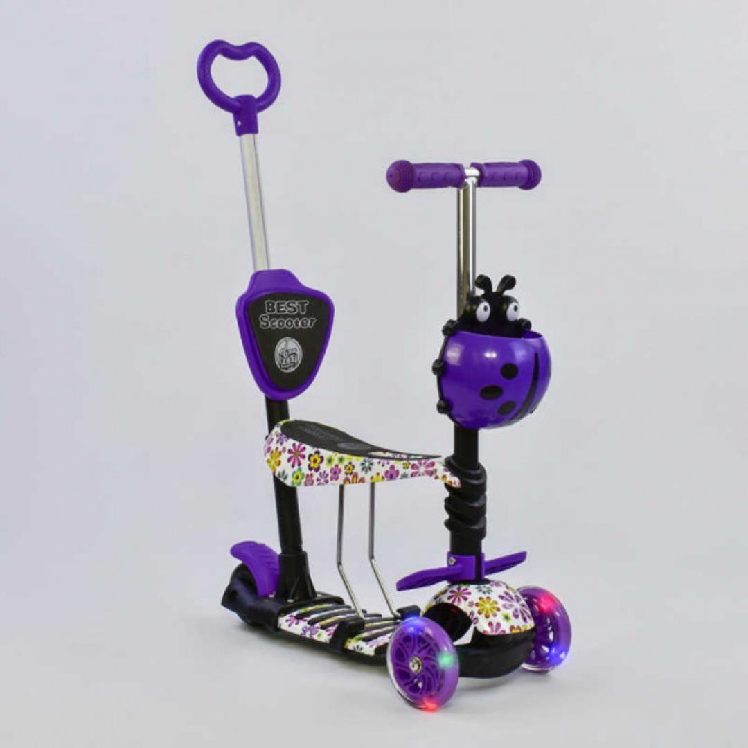 Детский самокат 5в1 Best Scooter 97240 c рисунком и светящимися колёсами