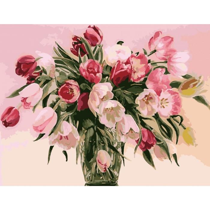 """Картина по номерам. Букеты """"Тюльпаны в вазе"""" 40*50см KHO1072"""