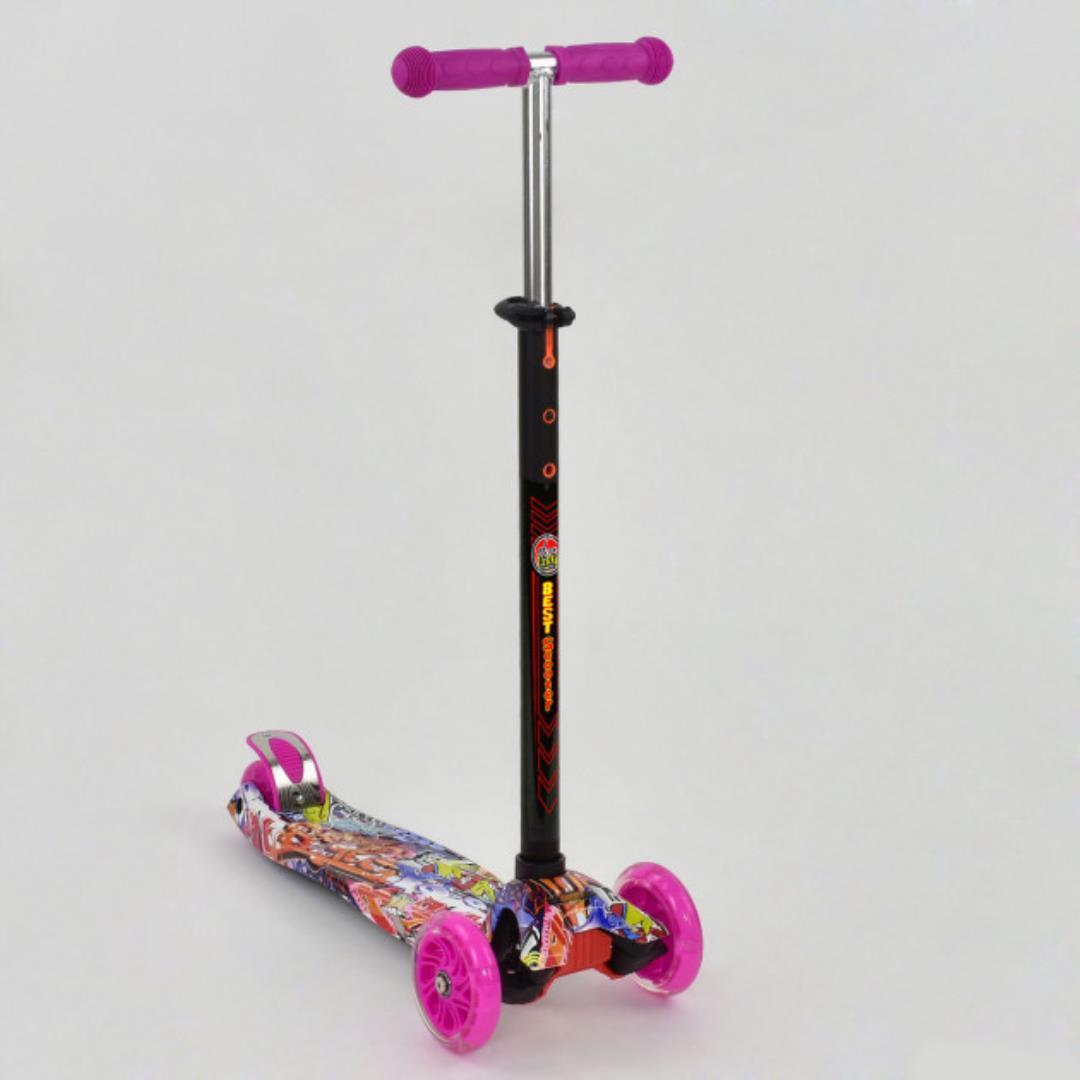 Самокат Best Scooter Maxi 1395 Розовый с рисунком и светящимися колёсами