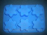 Форма силиконовая Снежинки   планшет 6шт
