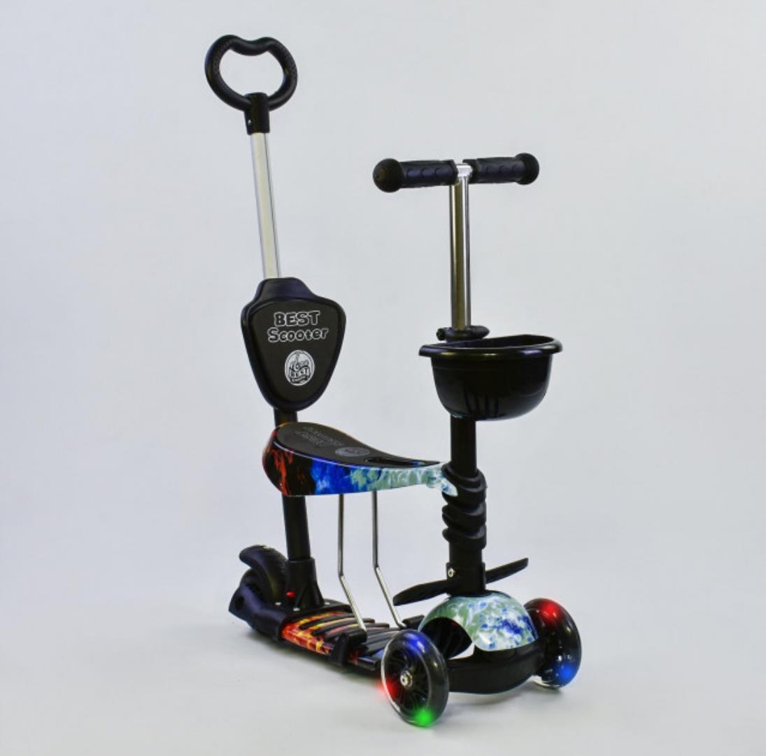 Детский самокат 5в1 Best Scooter 21500 c рисунком и светящимися колёсами