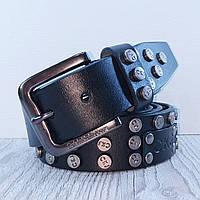 Ремень кожаный в джинсы черный с заклёпками 4см СК