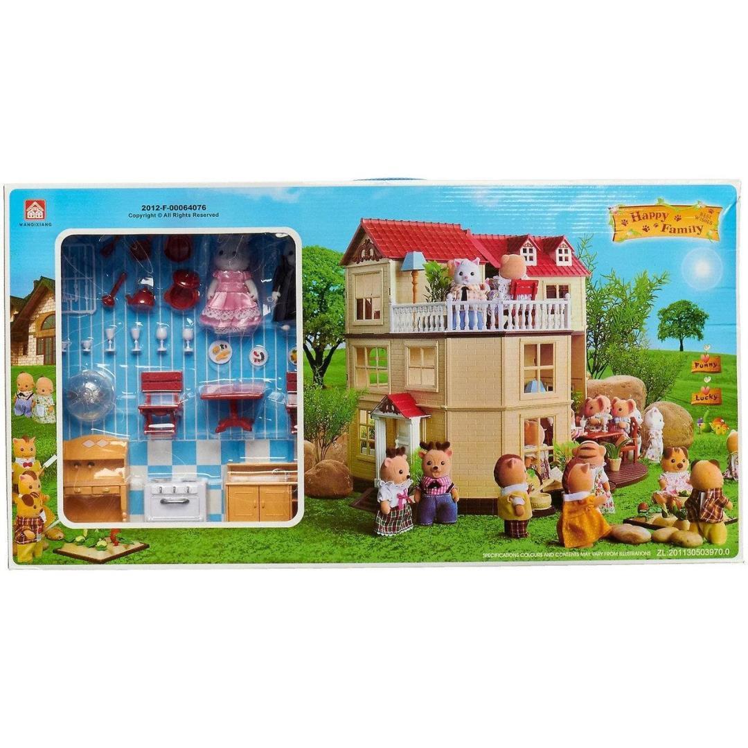 """Кукольный домик с флоксовыми животными Happy Family """"Зайчики молодожены"""" 012-10"""