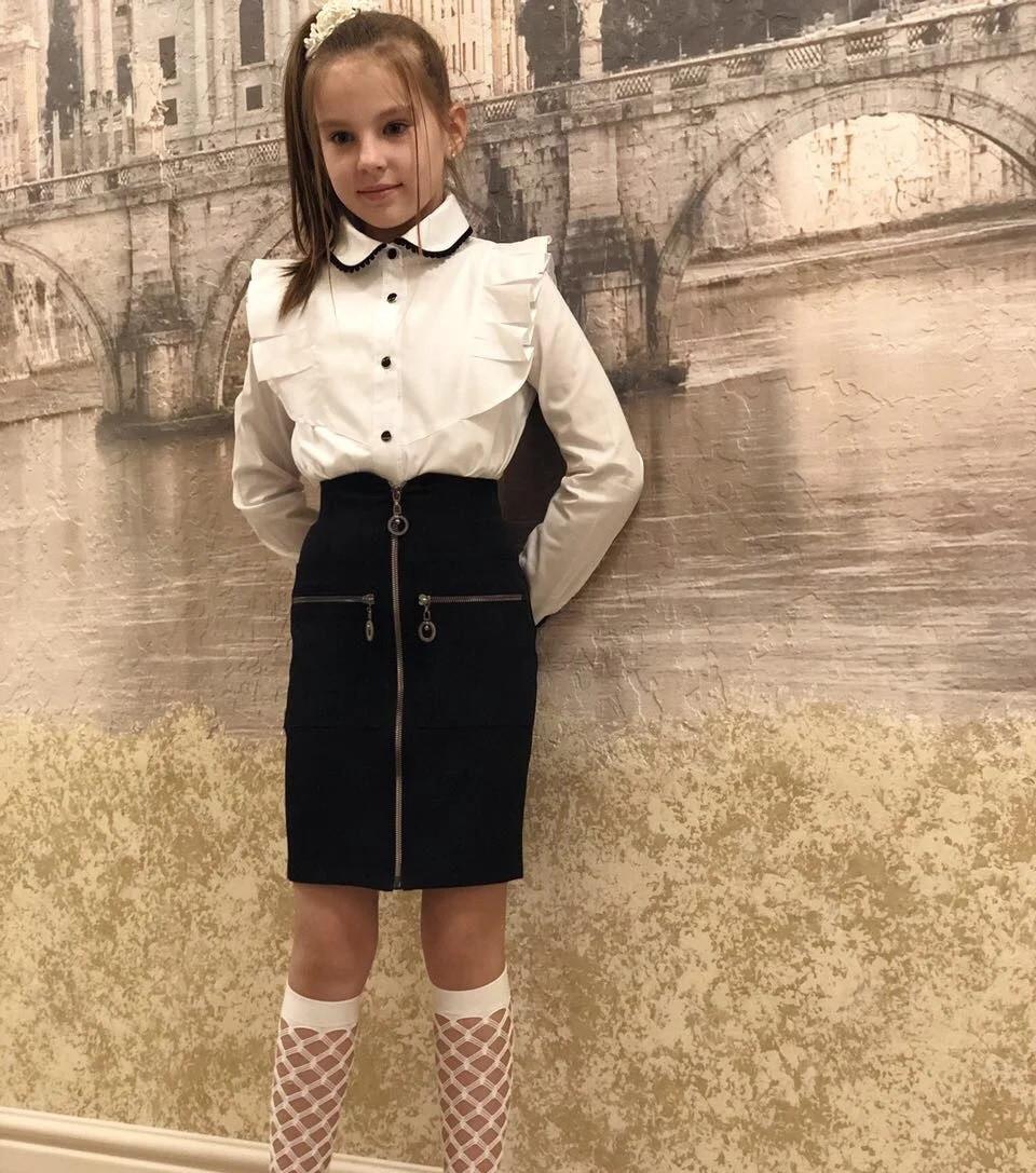 Темно-синяя школьная юбка карандаш на молнии на девочку
