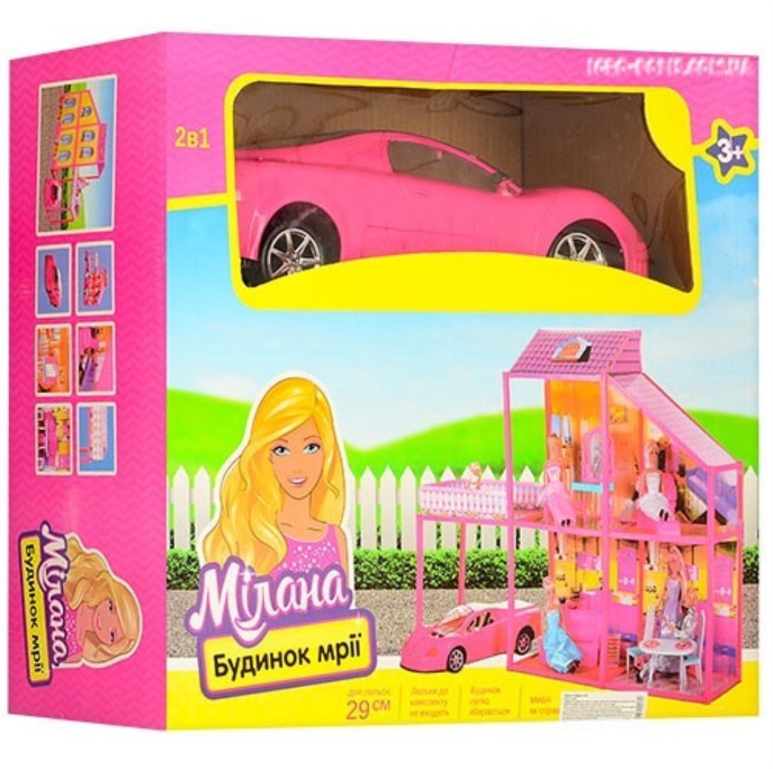 """Двухэтажный кукольный домик с машиной """"Милана"""" 6981"""