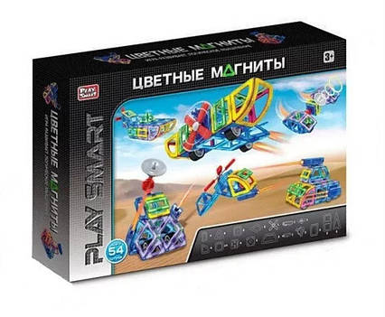 """Магнитный 3D конструктор Play Smart 2429 """"Цветные магниты""""на 54 дет"""