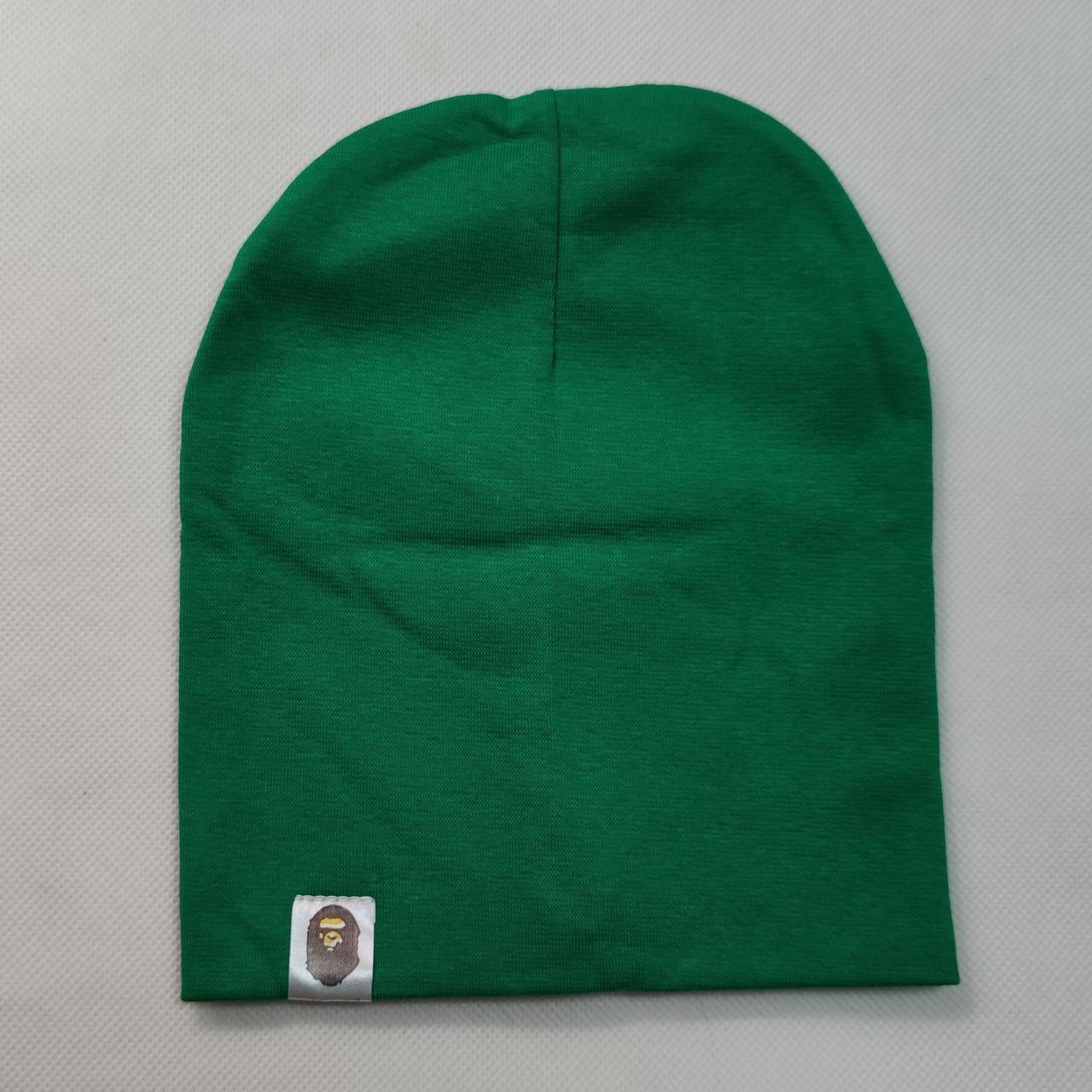 Демисезонная хлопковая шапка зелёная от 3 до 8 лет