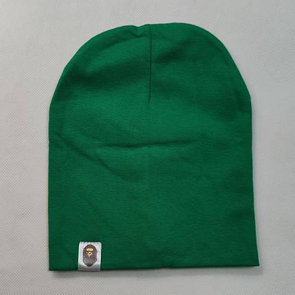 Демисезонная хлопковая шапка зелёная от 3 до 8 лет, фото 2